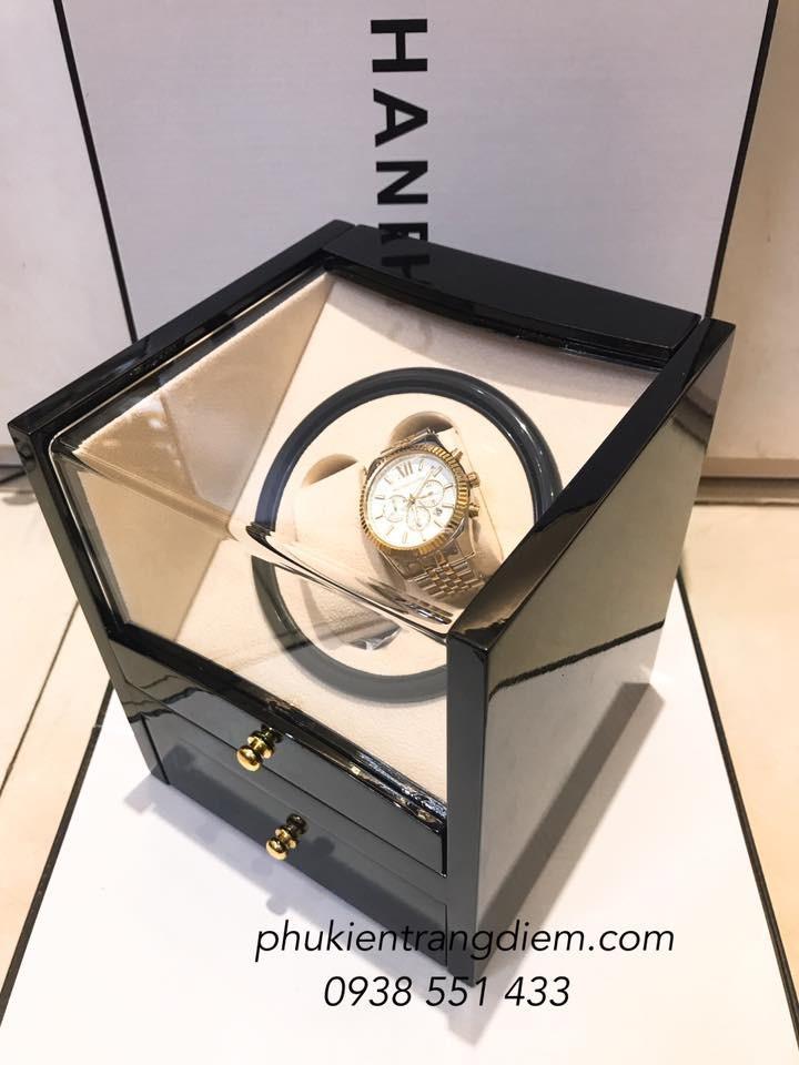 bán hộp đựng đồng hồ cơ xoay tự động bằng gỗ giá rẻ