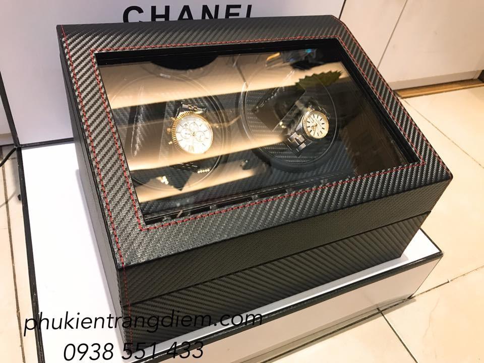 hộp đựng đồng hồ cơ xoay tự động bằng da cacbon