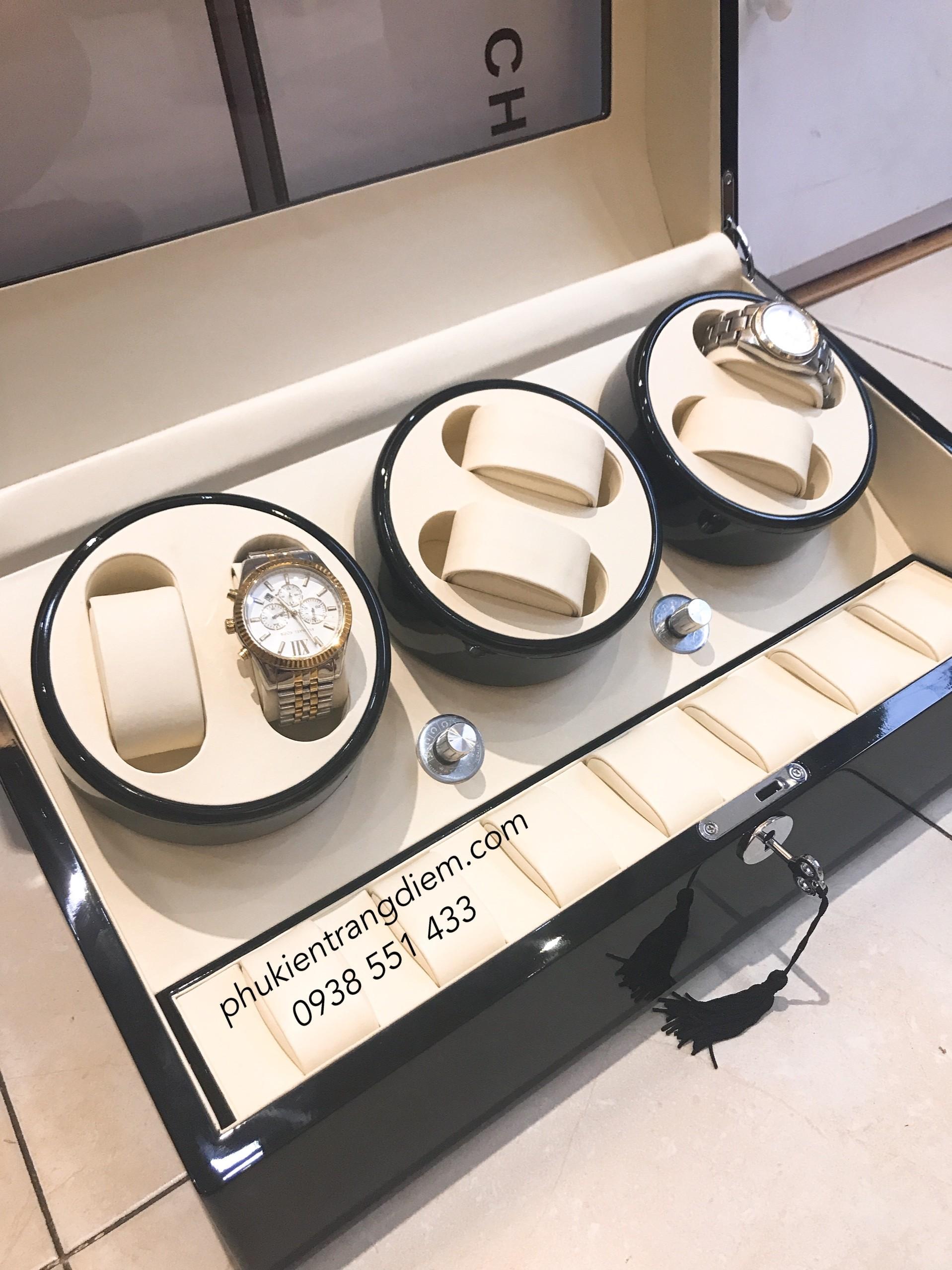 hộp lắc đồng hồ cơ xoay tự động 6 chiếc bằng gỗ