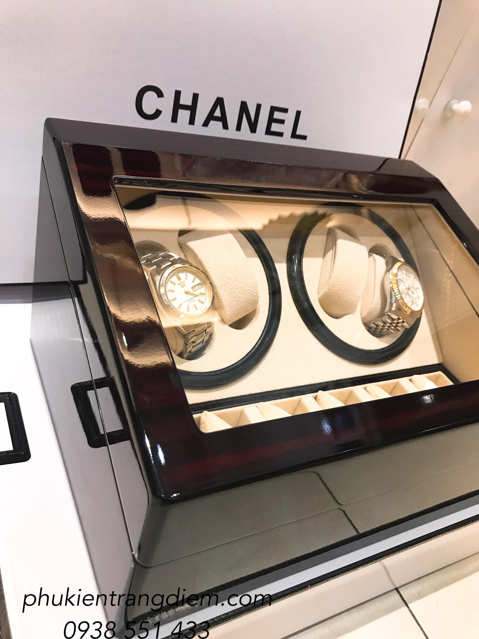 mẫu hộp gỗ xoay đồng hồ cơ tự động