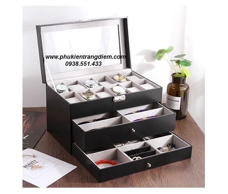hộp đựng đồng hồ trang sức mắt kính nhiều tầng nhiều ngăn giá rẻ