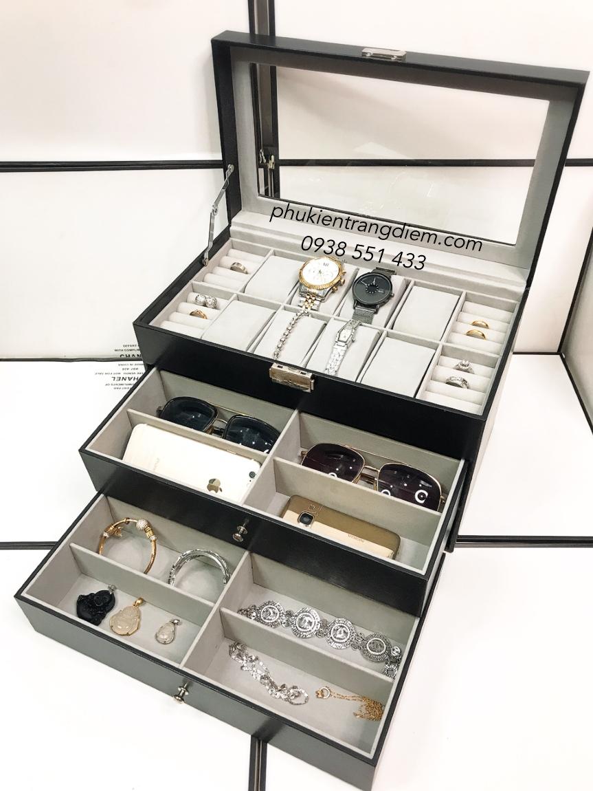 hộp đựng đồng hồ và mắt kính nhiều ngăn 3 tầng
