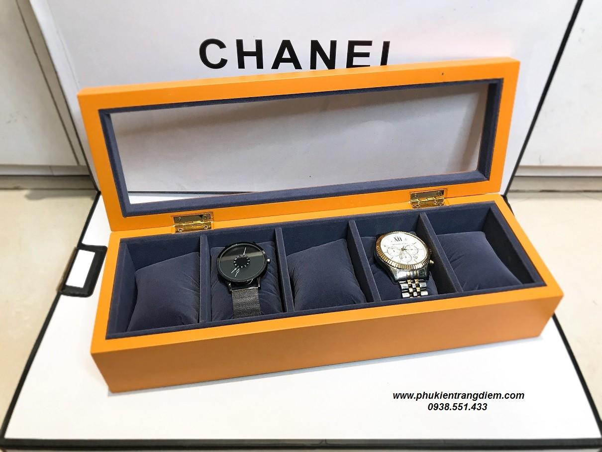 bán hộp đựng đồng hồ 5 ngăn bằng gỗ màu cam giá rẻ