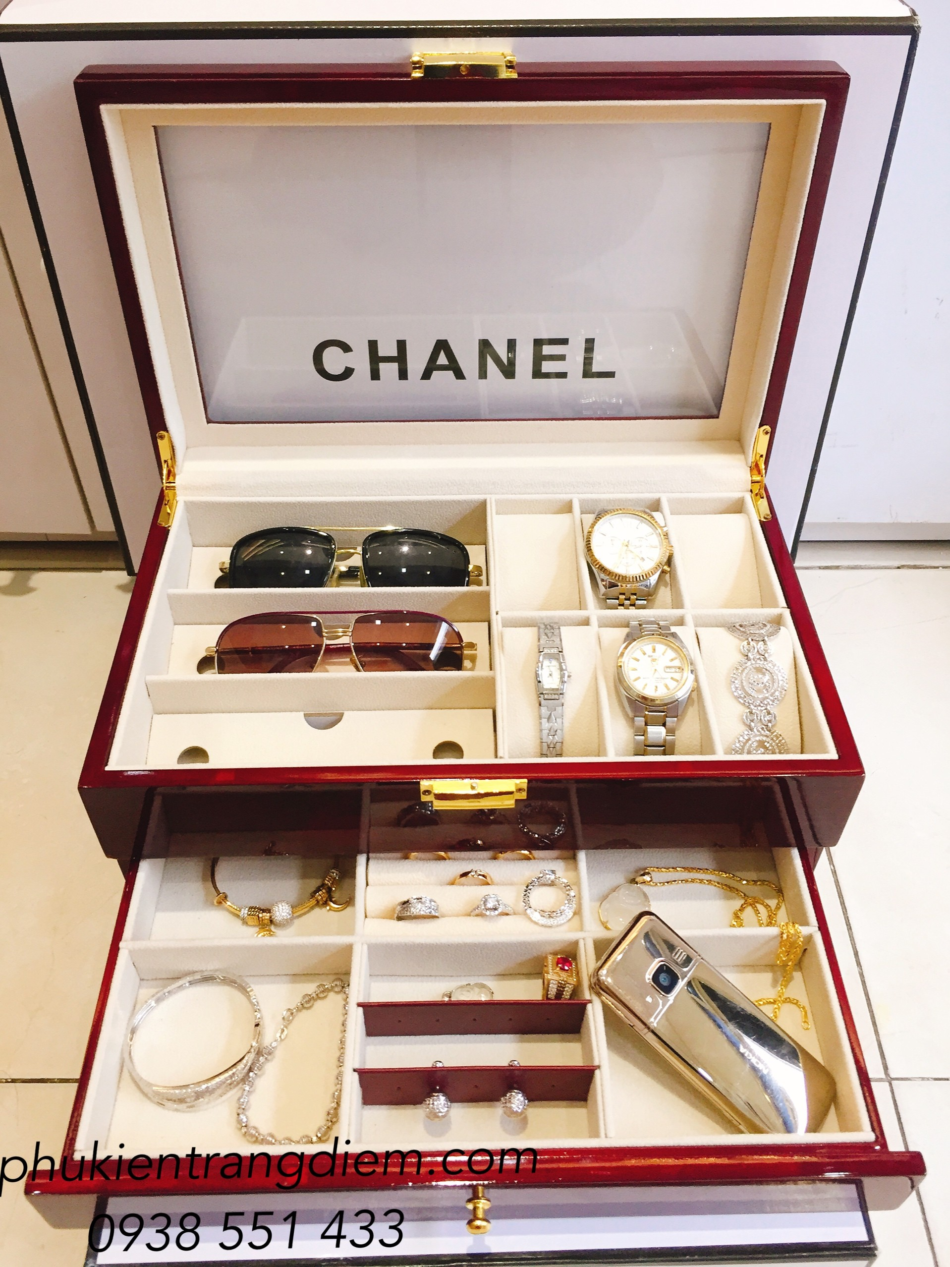 hộp gỗ đựng đồng hồ trang sức mắt kính giá rẻ tại tphcm