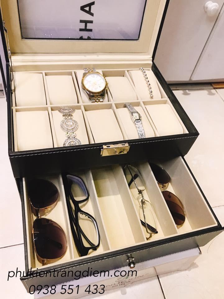 hộp đựng đồng hồ và mắt kính nhiều ngăn