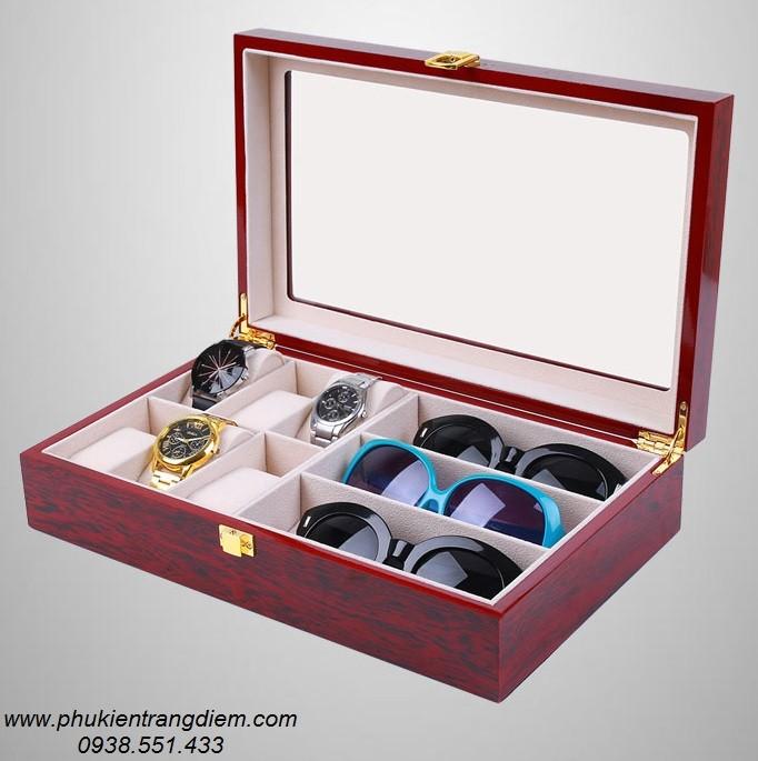 bán hộp đựng đồng hồ và mắt kính bằng gỗ