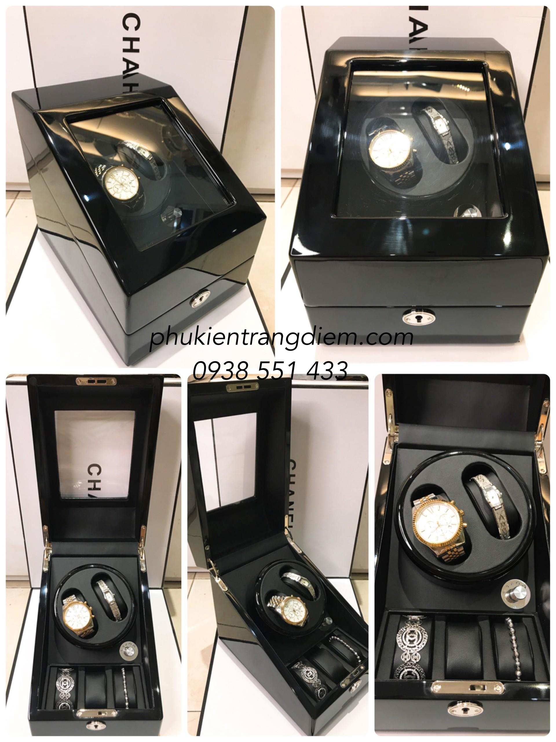 hộp xoay đồng hồ cơ tự động nhiều ngăn bằng gỗ giá rẻ