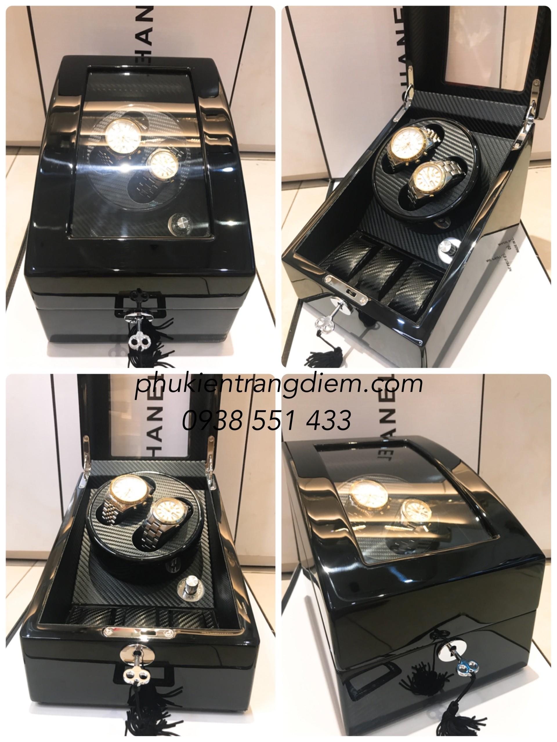 hộp đựng đồng hồ xoay cơ tự động 2 chiếc nhiều chế độ xoay tphcm