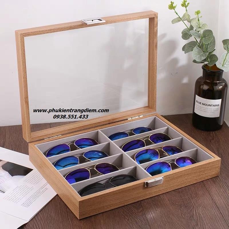 hộp đựng mắt kính nhiều ngăn 8 chiếc bằng gỗ cao cấp