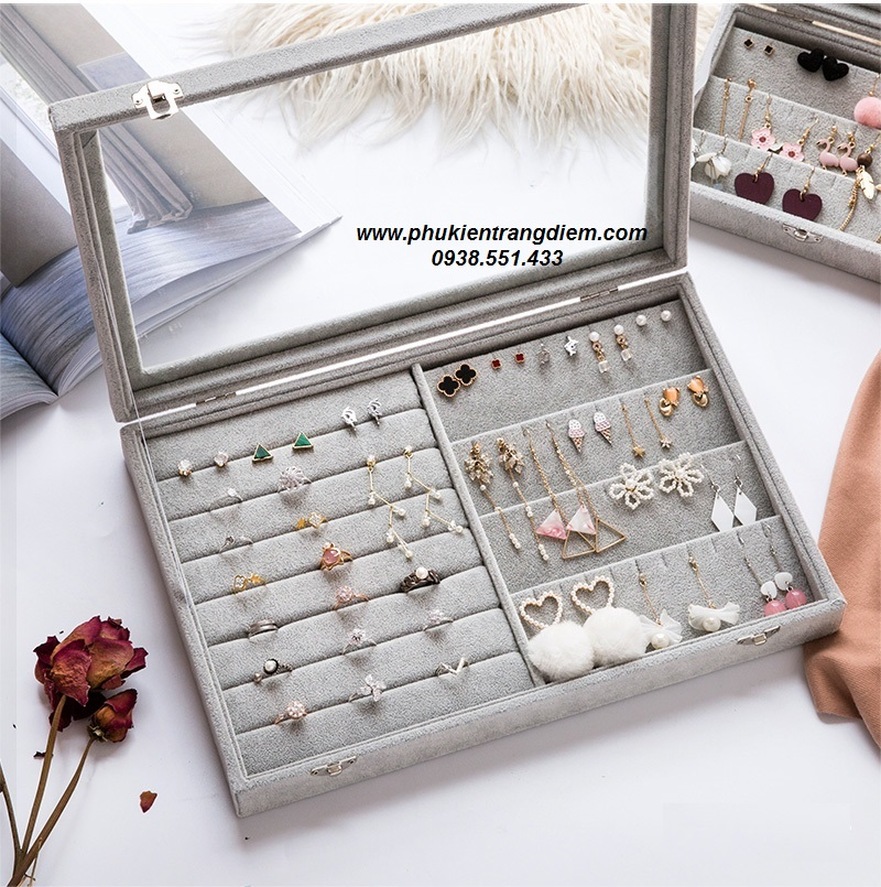 hộp đựng nhiều phụ kiện trang sức nhẫn và bông tai cao cấp giá rẻ
