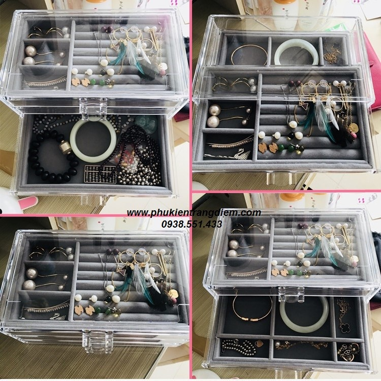 bán hộp đựng trang sức trong suốt nhiều ngăn