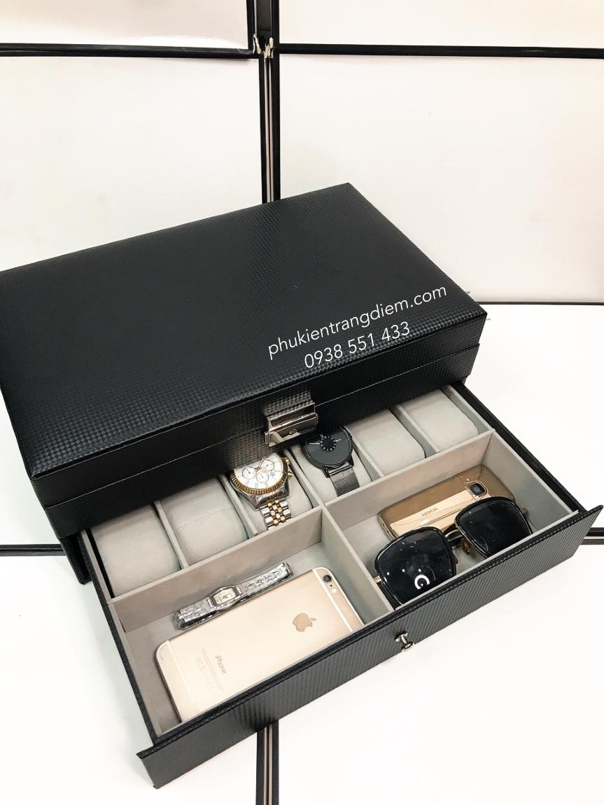 hộp đựng trang sức đồng hồ 2 tầng nhiều ngăn giá rẻ