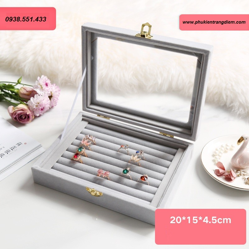 khay hộp đựng nhẫn, trang sức mini màu xám, nắp kính cao cấp