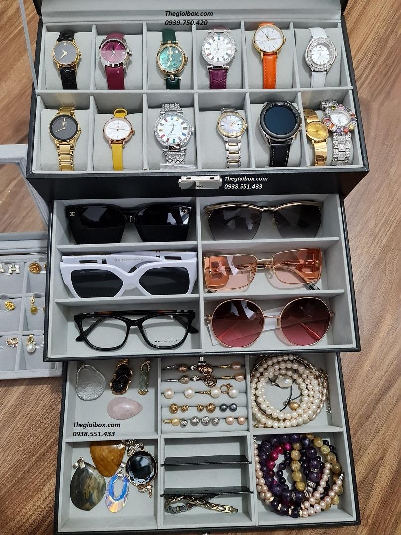 hộp đựng đồng hồ trang sức - mắt kính - nhiều ngăn sang trọng đẹp mắt