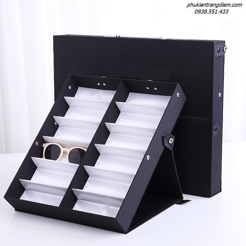 giá kệ đựng trưng bày mắt kính 12 ngăn có nắp chống bụi