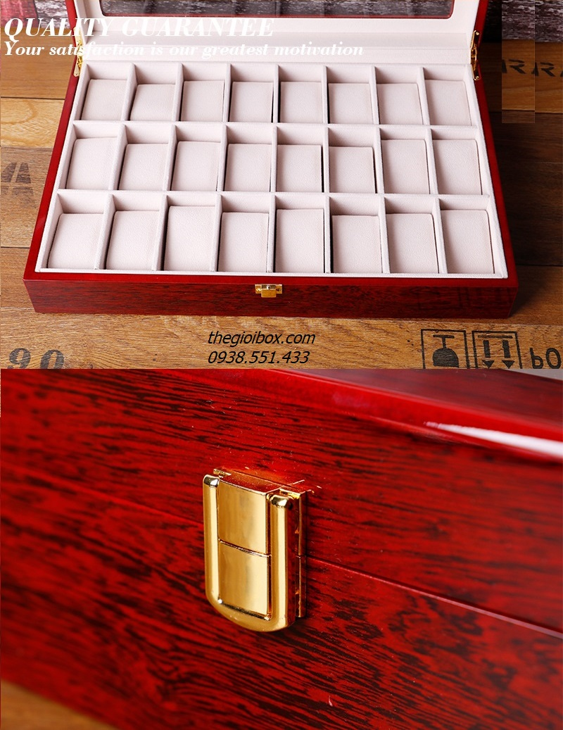 hộp khay đựng đồng hồ 24 ngăn bằng gỗ sang trọng có nắp chống bụi
