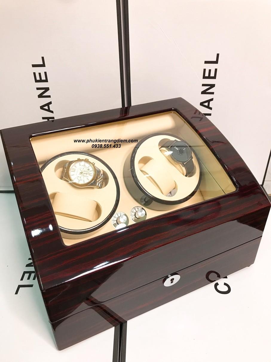 hộp lắc đồng hồ cơ xoay 4 ngăn bằng gỗ cao cấp