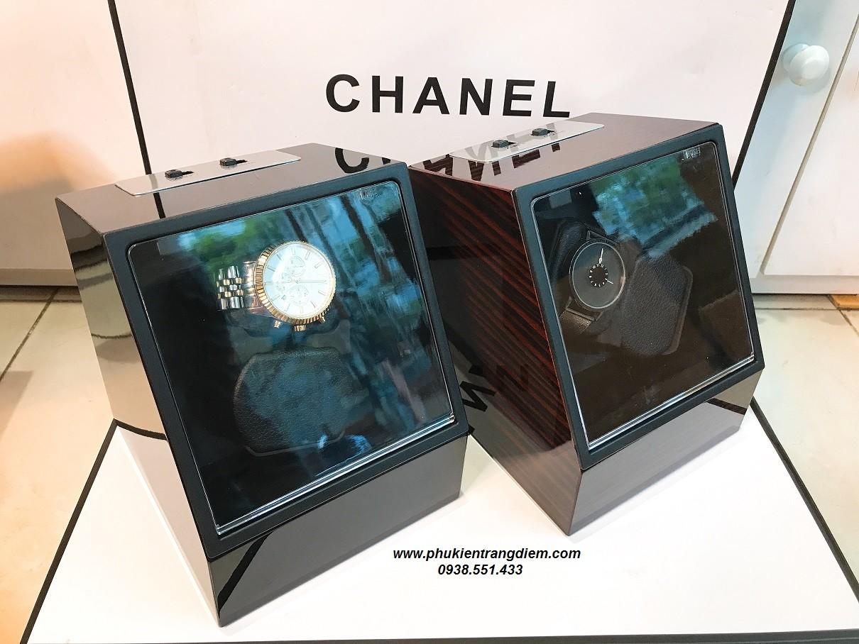 hộp lắc đồng hồ cơ 2 ngăn xoay bằng nhôm cao cấp