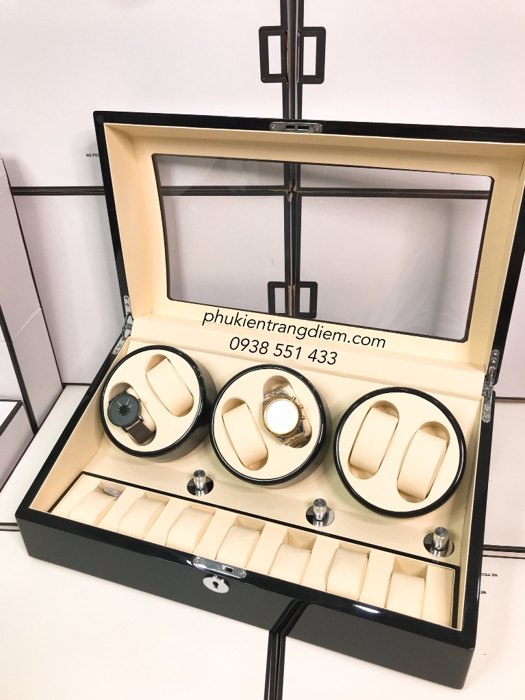 hộp lắc đồng hồ cơ 6 ngăn xoay cao cấp giá rẻ