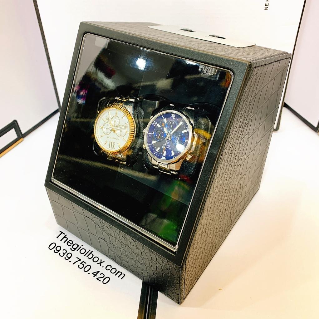 hộp xoay đựng đồng hồ cơ 2 ngăn bằng da gối cao su