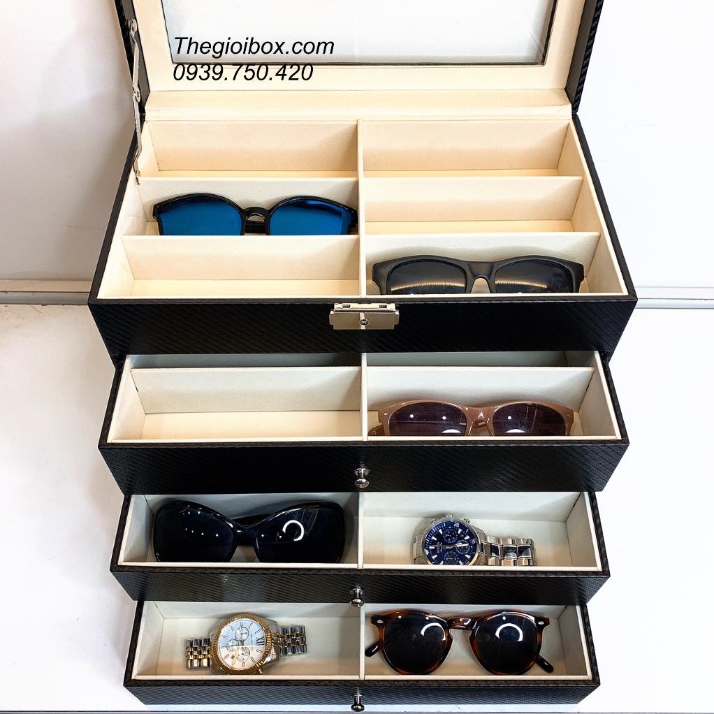 kệ hộp đựng mắt kính 24 cái 4 tầng nhiều ngăn cao cấp giá rẻ