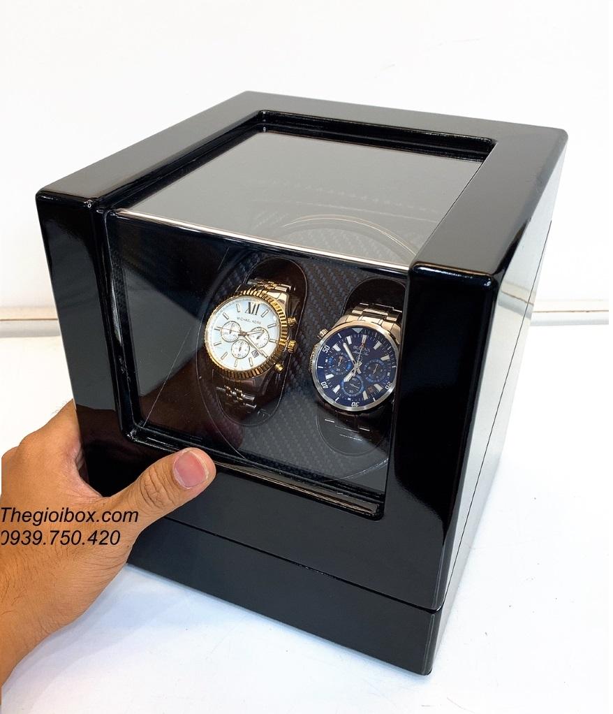 hộp xoay để đồng hồ cơ lên dây cót tự động 2 ngăn bằng gỗ