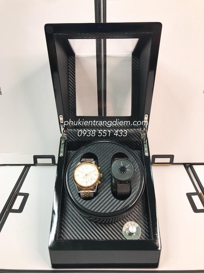 hộp lắc xoay đồng hồ cơ tự động 2 ngăn