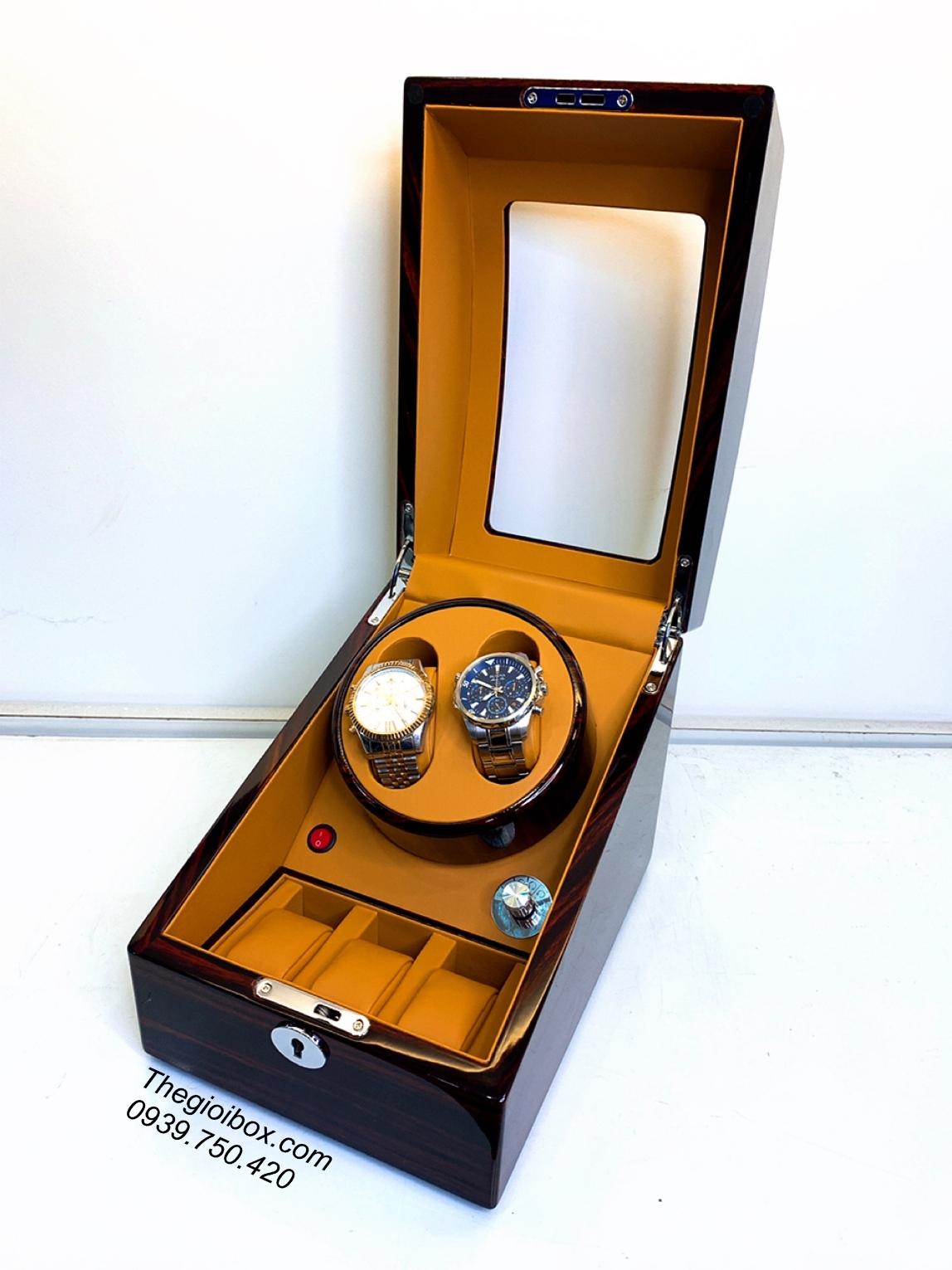hộp lắc lên dây tích cót đồng hồ cơ 2 ngăn xoay giá rẻ