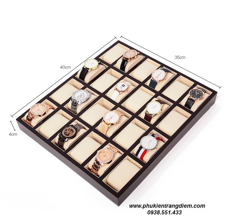 khay đựng trưng bày đồng hồ 24 ngăn bằng gỗ cao cấp