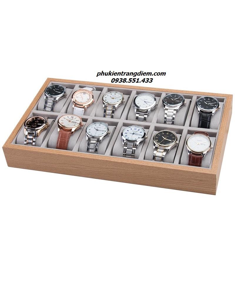 khay gỗ đựng đồng hồ 12 ngăn trưng bày cho shop đồng hồ