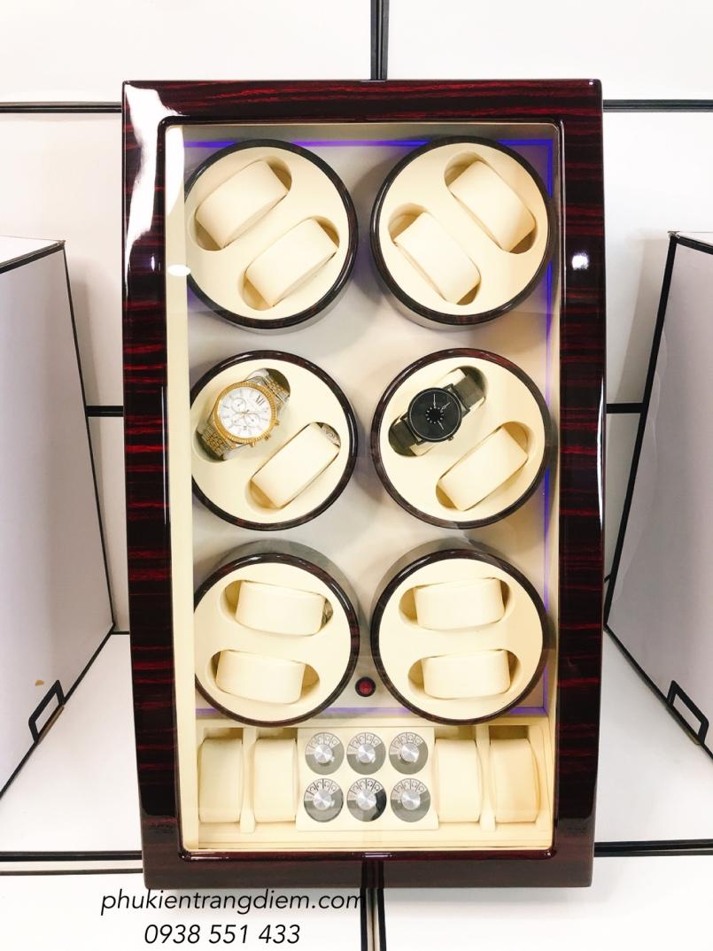 tủ hộp đựng đồng hồ cơ 12 ngăn xoay tự động cao cấp