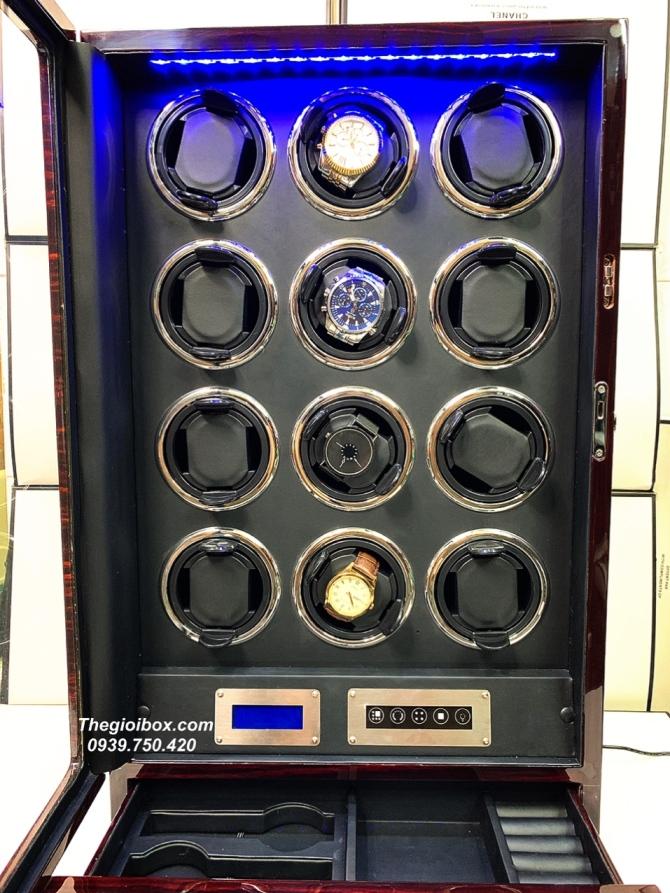 tủ hộp xoay đựng đồng hồ cơ tự động 12 ngăn xoay cao cấp