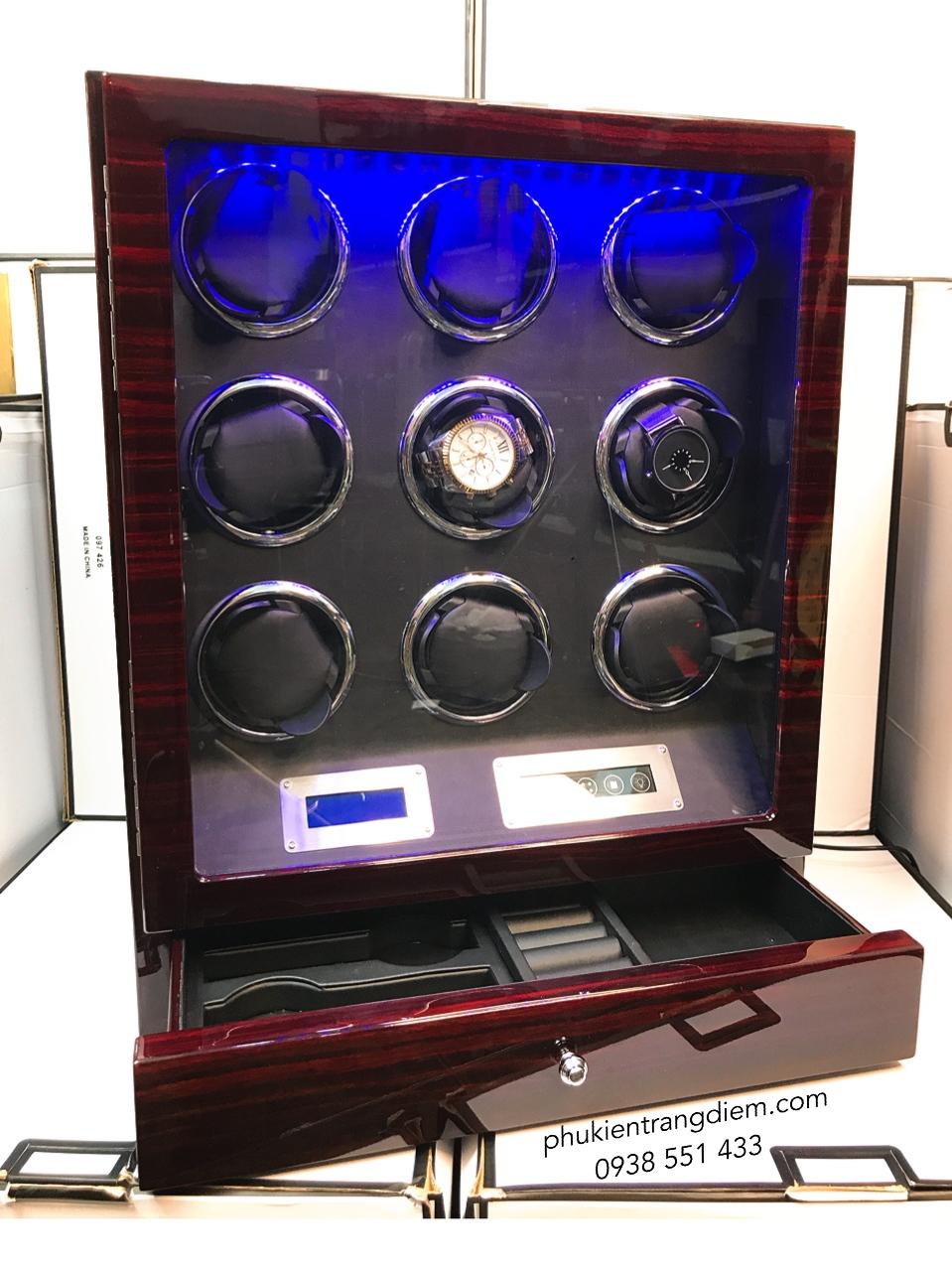 tủ hộp lắc đựng đồng hồ cơ nhiều ngăn xoay cao cấp giá rẻ