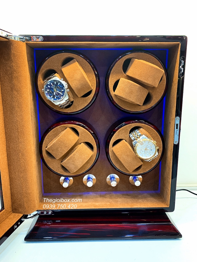 tủ lắc đựng đồng hồ cơ 8 xoay lót nhung nỉ cao cấp sang trọng