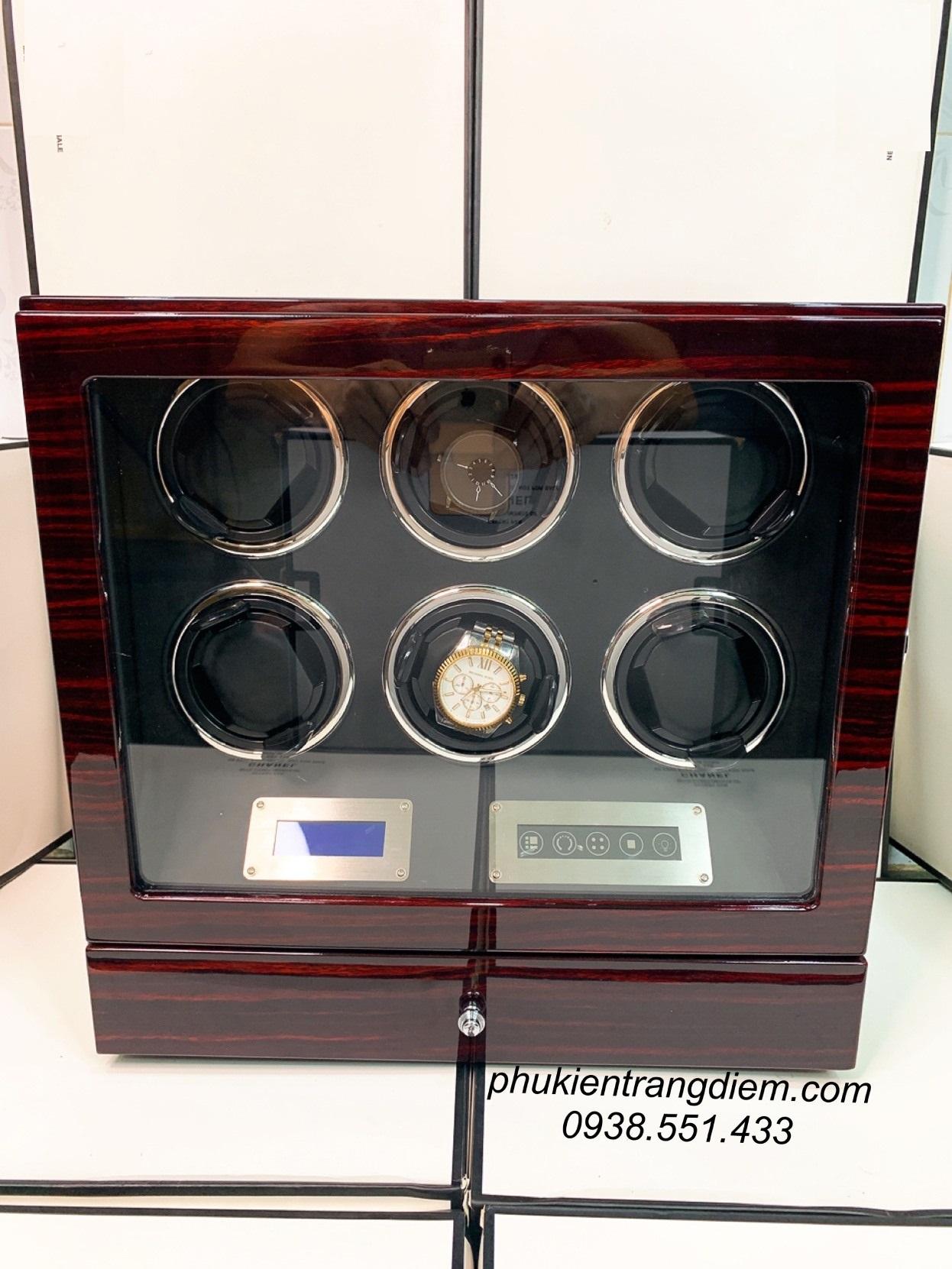 tủ hộp đựng đồng hồ cơ 6 ngăn xoay kèm remote cao cấp