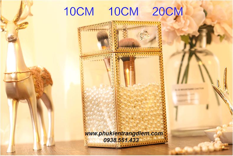 hộp đựng cọ trang điểm ngọc trai màu vàng luxury