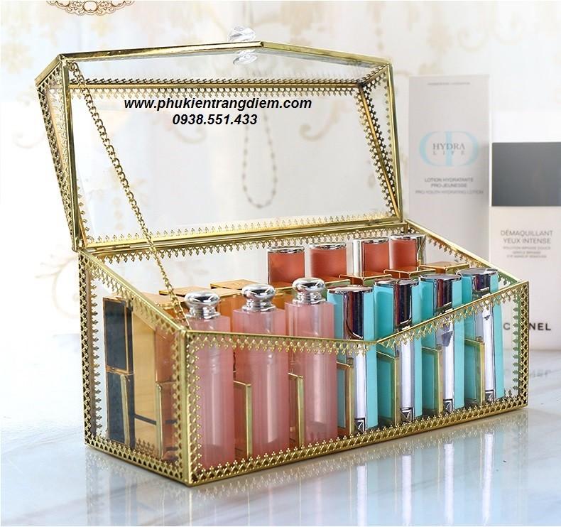 hộp khay đựng son có nắp đậy viền vàng luxury