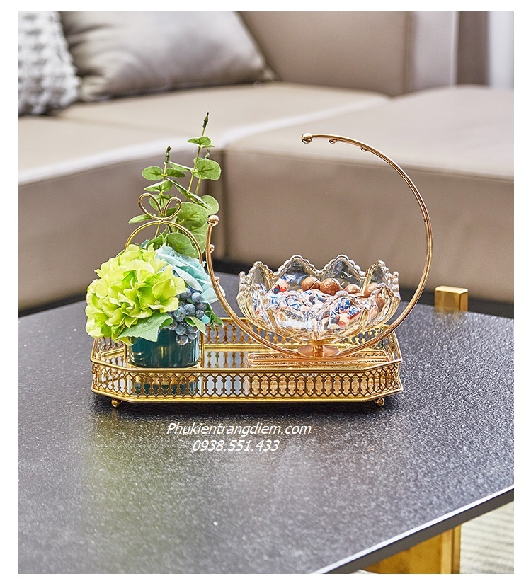 khay đựng mỹ phẩm trang điểm nước hoa đồ trang trí mạ vàng luxury