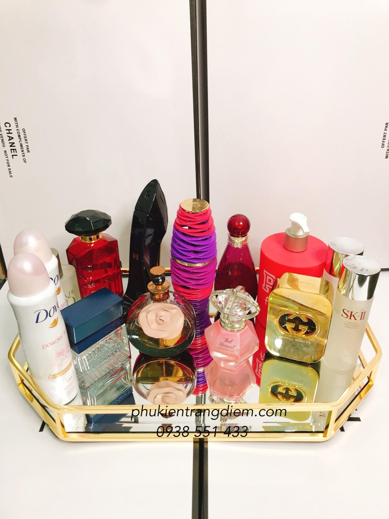 khay đựng nước hoa mỹ phẩm viền vàng cao cấp luxury