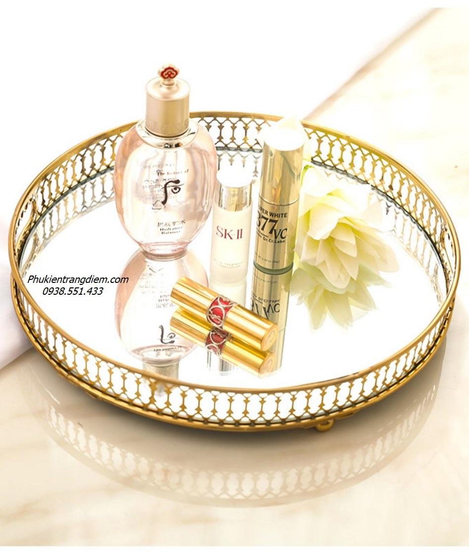 khay để đồ trang trí mạ vàng, khay đựng nước hoa dầu thơm sang trọng
