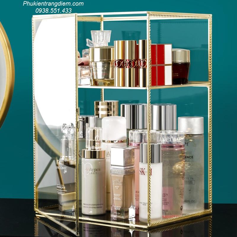 tủ kệ kính đựng nước hoa mỹ phẩm mạ viền vàng golden để bàn