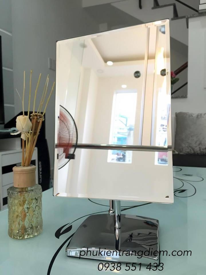 bán gương trang điểm để bàn inox hình chữ nhật cao cấp