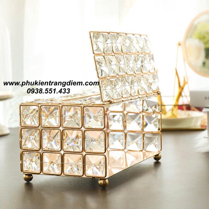 hộp đựng khăn giấy ăn pha lê diamond sang trọng