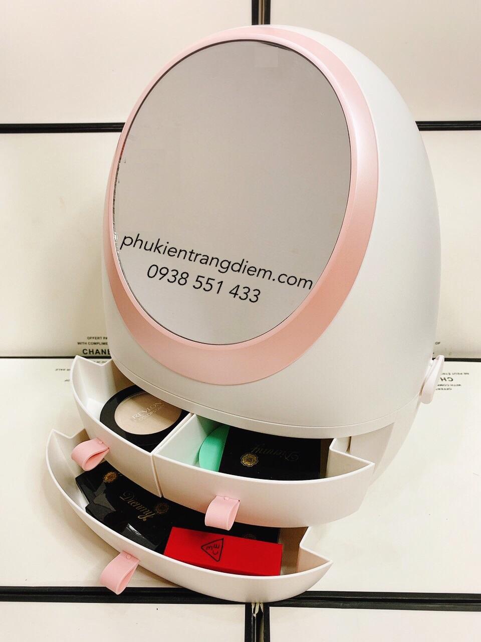 hộp kệ đựng mỹ phẩm trang điểm có gương nắp chống bụi