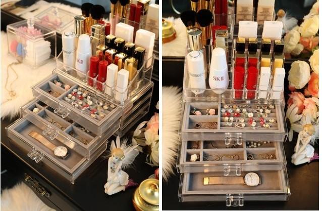 bộ hộp kệ đựng mỹ phẩm và phụ kiện trang sức để bàn cao cấp