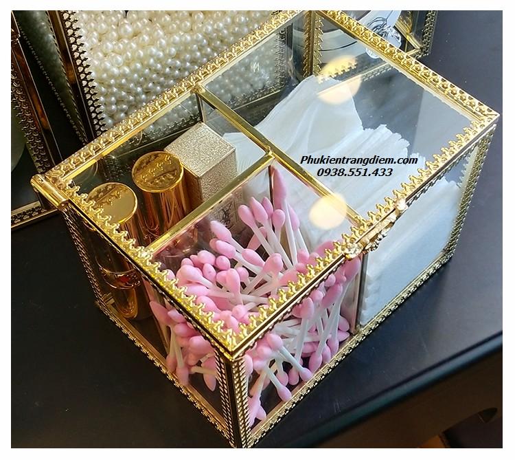 hộp đựng bông tẩy trang cotton và bông tăm golden sang trọng