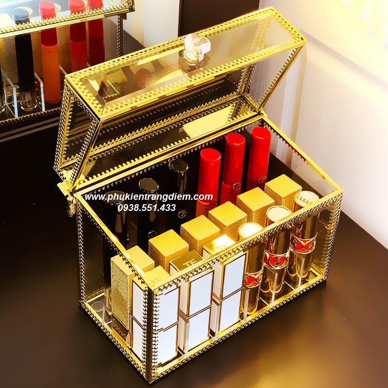 hộp đựng son 18 ngăn có nắp chống bụi golden viền vàng