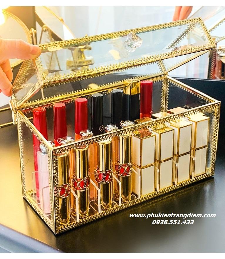 hộp khay đựng son môi viền vàng golden 24 ô