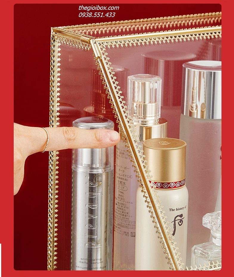 kệ tủ đựng mỹ phẩm trang điểm để bàn golden mạ vàng có nắp đậy