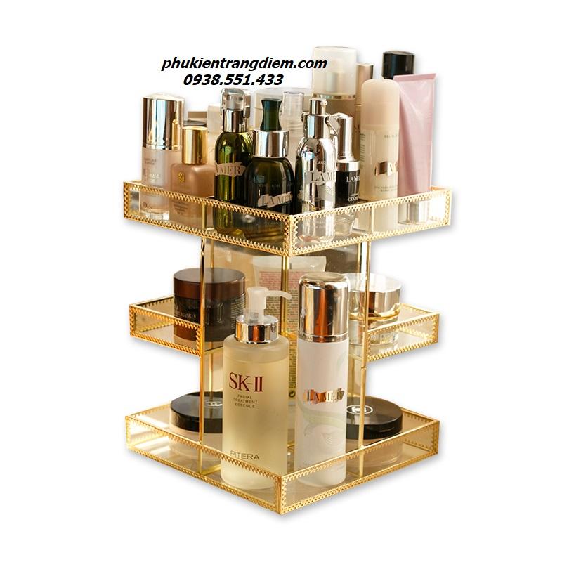 kệ khay golden đựng mỹ phẩm xoay 360 độ sang trọng luxury